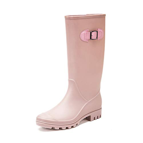 Pink Rubber Rain Boots - DKSUKO Rain Boots for Women Waterproof Elastic Wellington Boots (5 B (M) US,Pink with Elastic)
