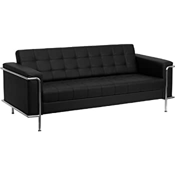 Flash Furniture ZB-LESLEY-8090-SOFA-BK-GG Hercules Lesley Series Contemporary Black Leather Sofa with Encasing Frame