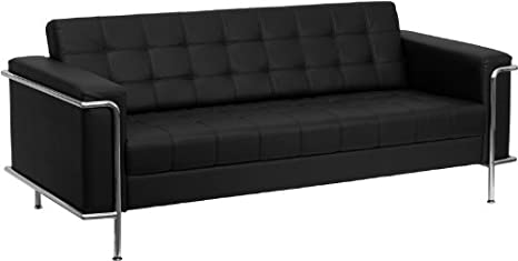 Astounding Flash Furniture Hercules Lesley Series Contemporary Black Leather Sofa With Encasing Frame Gmtry Best Dining Table And Chair Ideas Images Gmtryco