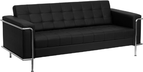 Flash Furniture ZB-LESLEY-8090-SOFA-BK-GG Hercules Lesley Series Contemporary Black Leather Sofa with Encasing - Le Leather Corbusier Sofa