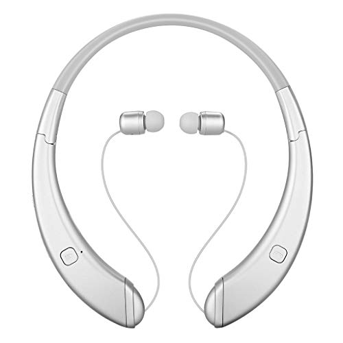 Sconary Wireless Bluetooth Earphones HiFi Sound Foldable Neckband Ultra Light Fashion In-Ear Earbuds Anti-dropping Retractable with Mic Headsets Universal 4.1 Stereo (Silver) ()