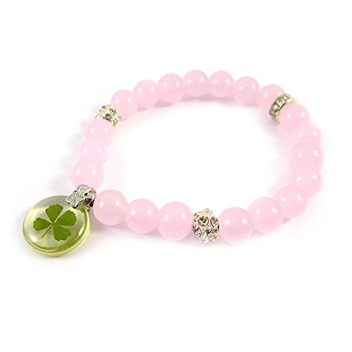 Genuine Four-leaf Lucky Clover Crystal Amber Beads Bracelet, Good Luck Pink Jade Healing Energy, 6