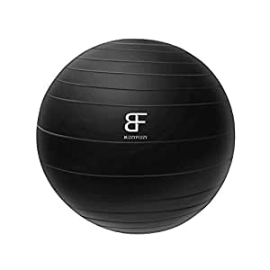 buzzyfuzzy 65 cm Exercise Ball Perfect for Balance/Yoga/Pilates/Strength core Training,Suit for Home Gym/Office Yoga Ball Desk Chair with Quick Pump, Black