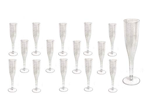 30pc Clear Plastic With Silver Glitter Classicware Glass Like Champagne Wedding Parties Toasting Flutes