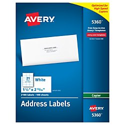 Avery Address Labels for Copiers 1-1/2 x 2-13/16-Inches, Box of 2,100 (5360)