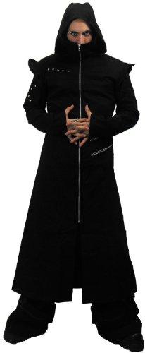 Necessary Evil Odin Goth Full Length Black Twill Mens Hooded Coat - Medium - ()