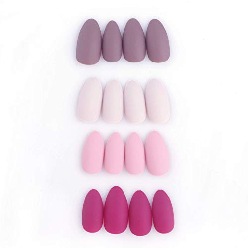 e17ed8d14fe2c 96Pcs Colorful Acrylic Nails Full Cover Medium Stiletto Matte False Gel  Nails Art Tips Sets(
