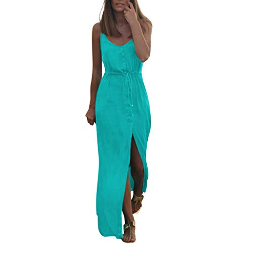 F_Gotal Womens Dresses Summer Solid Long Maxi Split Strap Buttons Dress Backless Beach Sundress Party Cocktail Green