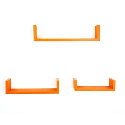 Keepfit Set of 3 Floating U Shelves Bookshelf Wall Mount Shelf Décor (Orange)