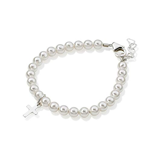 - Crystal Dream Baptism White Swarovksi Simulated Pearls, Sterling Silver Cross Charm Christening Toddler Bracelet (BPW-C_M)