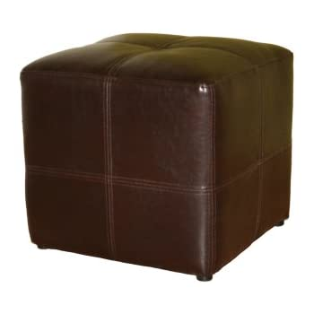Baxton Studio Nox Brown Leather Ottoman  sc 1 st  Amazon.com : brown leather stool - islam-shia.org