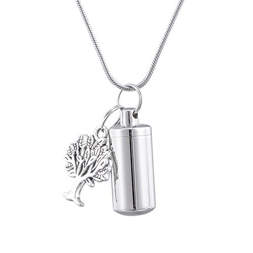 (HooAMI Cremation Urn Keepsake Necklace for Ashes Memorial Jewelry with Family Tree Charm 2.8cmx1.1cm)