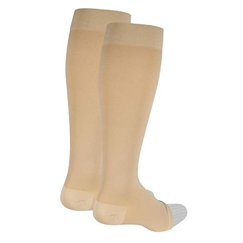 Nuvein Compression Socks for Women and Men, Medical Support Stockings, Beige (Open Toe), Medium (20-30 mmHg)