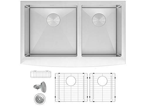 ZUHNE Turin 33 Inch Farmhouse Apron Front 60/40 Deep Double Bowl 16 Gauge Stainless Steel Kitchen Sink with Grate Protector, Two Drain Strainers and Sink Caddy