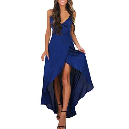 RIUDA Women Evening Party V-Neck Slit Boho Long Maxi Dress Beach Sundress Blue ()