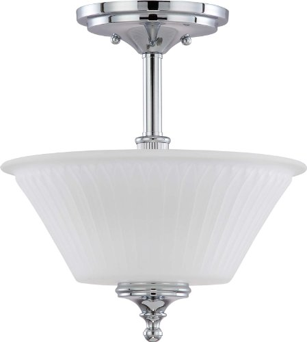 Nuvo Lighting 60/4268 Two Light Teller Semi-Flush Dome with Frosted Etched Glass, Polished Chrome - Chrome Dome Light