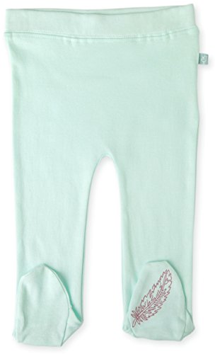 (Finn + Emma Organic Cotton Footed Pants for Baby Boy or Girl - Blue Glass, 6-9 Months)