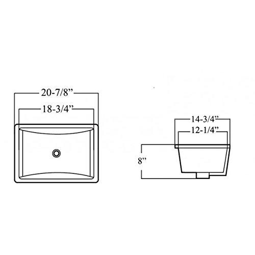 ARIEL RP412PPC 20-7/8 Inch White Ceramic Porcelain Rectangular Shape Bathroomvanity Undermount Sink + Pop-up Flow Drain in Chrome Finish