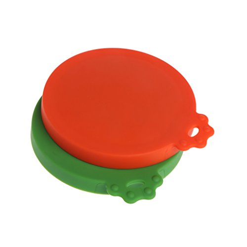 X-QUICKLY Pet Can Cover, Pet Food Can Cover Silicone Dogs Cats Storage Tin Cap Lid Reusable Random Color