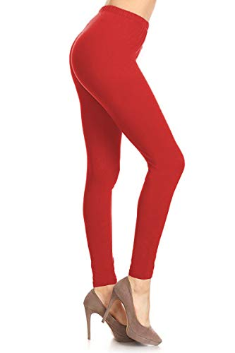 (LDR128-Red Basic Solid Leggings, One)