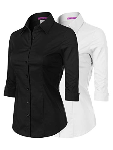 Design by Olivia Women's 3/4 Sleeve Stretchy Button Down Collar Office Formal Casual Blouse Shirts Top 2PACK - Black/White 2XL