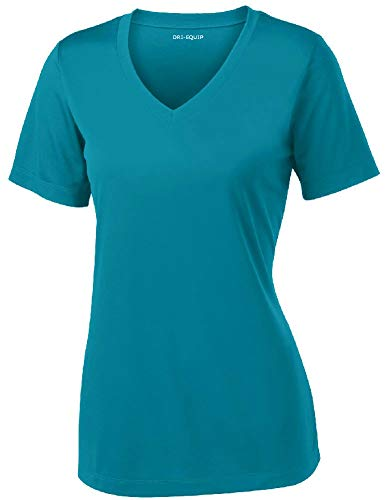 - Women's Athletic All Sport V-Neck Tee Shirt in 12 Colors,XXXX-Large,Tropic Blue