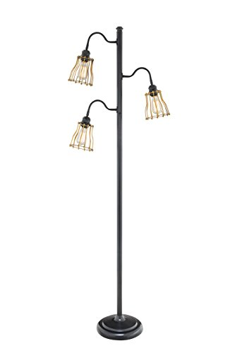 Catalina 19141-001 3-Way 3-Light Track Tree Floor Lamp with Metal Open Cage Shades, 69