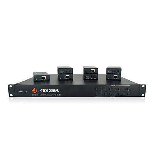 (J-Tech Digital 4K@60HZ 8x8 HDBaseT Matrix with 7 Receivers (PoC), Supports 4Kx2K@60HZ 4:2:0, HDCP 2.2 IR, SPDIF, RCA, TCP/IP, RS232, EDID with Control 4 Driver Available)