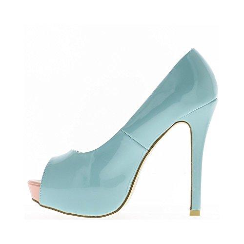 Escarpins bouts ouverts bleus à talons de 13cm et plateau de 3 cm