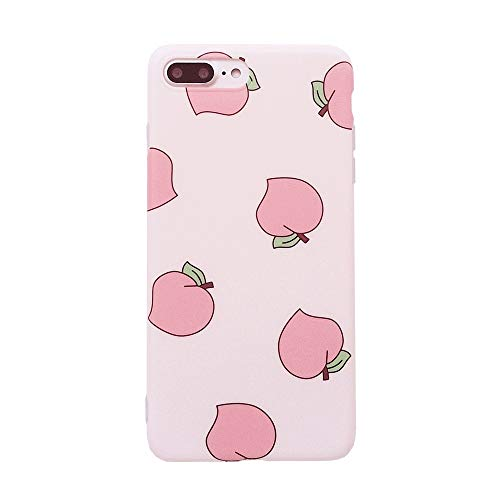 iPhone 7 Plus/iPhone 8 Plus Cute Case for Girls,YeLoveHaw Flexible Soft Slim Fit Full Protective Shell Phone Case with Summer Style Pink Juicy Peach Fruit Pattern for iPhone 7/8 Plus 5.5 Inch(Peach)