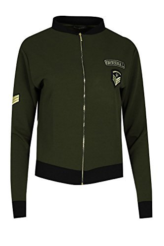 Be Jealous Damen Vordere Golden Reißverschluss Contrast Kragen Militry Mit badge Biker Bomber Jacke UK Plus Größe 34-50 - Khaki, 40