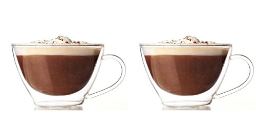 Lily's Home Double Wall Thermo Insulated Glasses, Heat Resistant and Ideal for Cappuccino, Espresso, Tea, Coffee, and Other Hot or Cold Beverages (13 oz. Each, Set of 2)