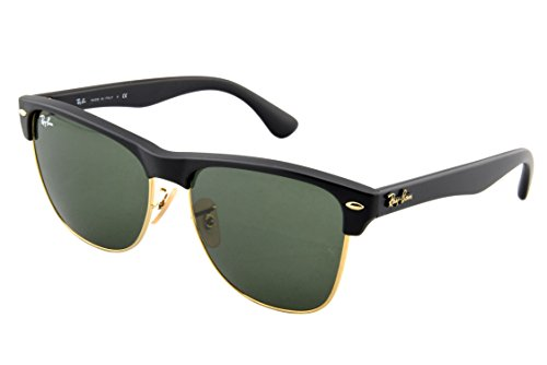 Ray-Ban CLUBMASTER OVERSIZED - DEMI SHINY BLACK/ARISTA Frame CRYSTAL GREEN Lenses 57mm Non-Polarized