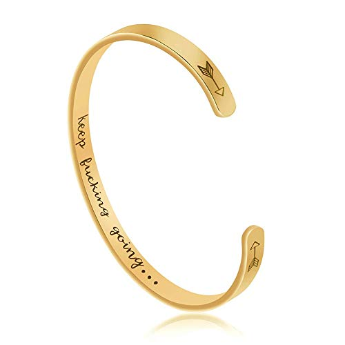 - Dczosily Personalized Bracelets for Women Inspirational Cuff Bangle Gold Jewelry Graduation Gift for Friends Teen Mantra Keep Fking Going (Keep Going Inner Engraved-Gold)