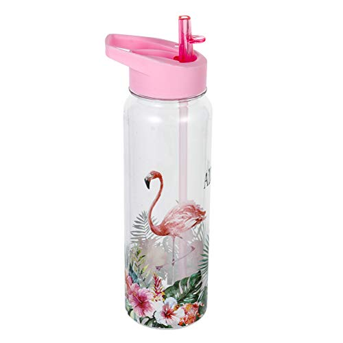 Baring 720ml/24oz Cute Plastic Water Bottle for Kids, Motivational Water Bottle with Straw Leak Proof Water Bottle for Children Cycling, Hiking(H01)