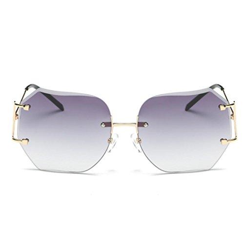 LHWY Femmes hommes voyage lunettes de soleil été Vintage Retro lunettes carré dégradé de couleur lunettes aviateur miroir lentille (Or, Rose)