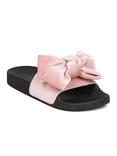 Alrisco Women Velvet Bow Tie Open Toe Molded Footbed Slide HD44 - Blush Velvet (Size: (Pink Velvet Bow)