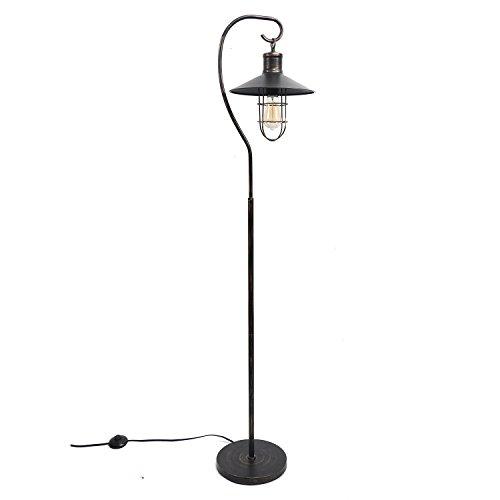 DEI Standing Lantern Lamp with Vintage Bulb Décor, Large, Black