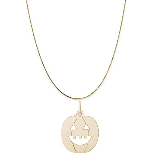 Rembrandt Charms 14K Yellow Gold Flat Jack O Lantern Charm on a Box Chain Necklace, 20