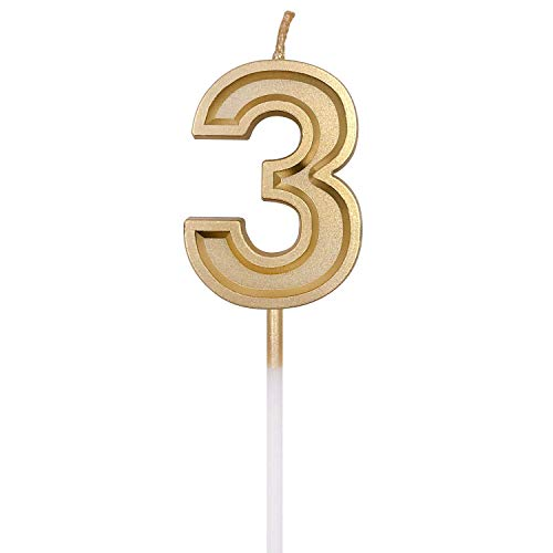 URAQT Birthday Candles Numbers, Gold Glitter Birthday Numeral Candles for Birthdays, Weddings, Reunions, Theme Party, Number 3