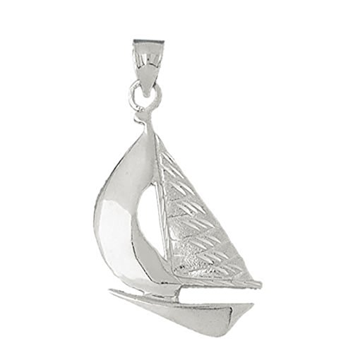 14k White Gold Sailboat Pendant (25 x 45 mm) by Eaton Creek Collection