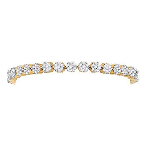 Mia Diamonds 14kt Yellow Gold Womens Round Diamond Flower Cluster Tennis Bracelet (4.00cttw) (I1-I2)