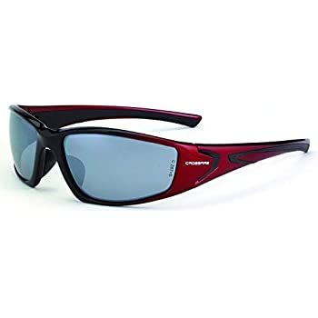 Crossfire Infinity Safety Glasses with Shiny Black Frame and Silver Mirror Lens