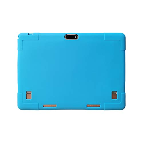 Transwon Silicone Case Compatible with YELLYOUTH 10, Wecool 10.1, Victbing 10.1, Lectrus 10.1, Hoozo 10.1, Dragon Touch K10, BeyondTab 10.1, Veidoo 10.1, MRMAODOU 10, Yuntab K107, BENEVE 10.1 - Blue