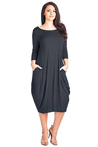 (12 Ami Plus Size Solid 3/4 Sleeve Bubble Hem Pocket Midi Dress Black XXL)