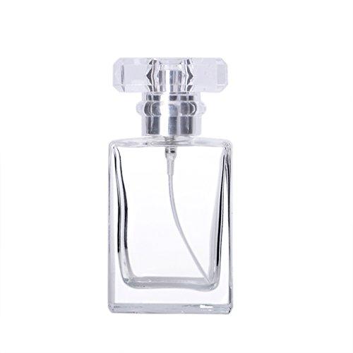 Enslz 30ML Portable Transparent Glass Perfume Empty Bottle Refillable Atomizer for Travel (Transparent) - Empty Perfume Bottle