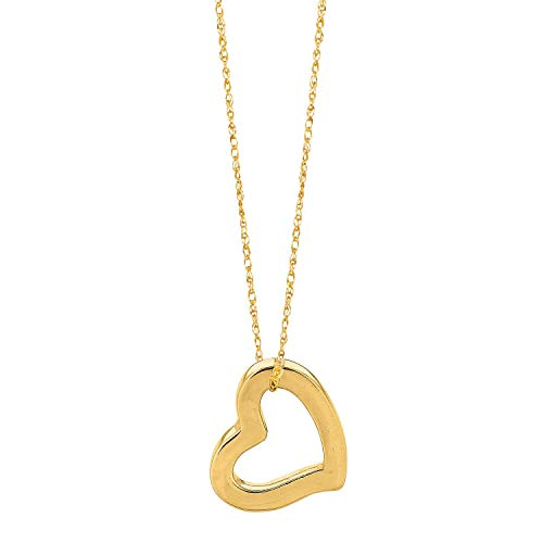 Finejewelers 14K Yellow Gold Open Floating Heart Pendant Necklace on a 18 Inch Chain