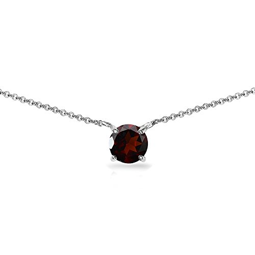 Sterling Silver Garnet 7mm Round-cut Dainty Choker Necklace by GemStar USA