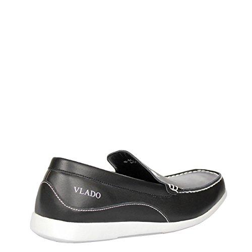 Vlado Skor Mens Elit Läder Låg Topp Slip På Låg Topp Slip På Loafer Svart