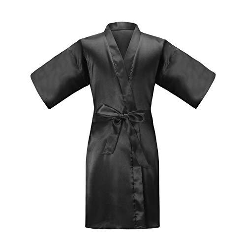 (ALHAVONE Girl's Kid's Silky Satin Solid Color Short Kimono Robe for Wedding Birthday Party Spa (Black, 12))